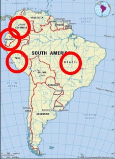 Map of South America with Colombia, Equador, Peru and Brazil circled